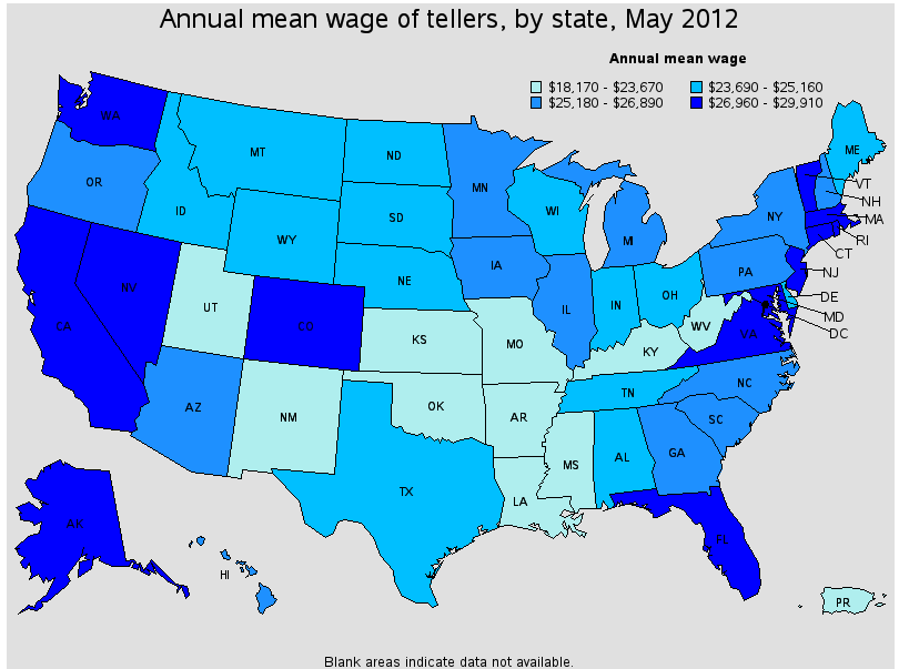 bank teller wages